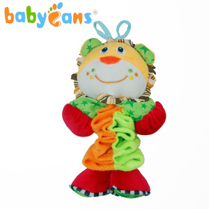Babyfans pull string musical animal lion baby soft rattle baby stuffed free sample
