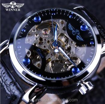 0124bff6e5b Vencedor Esqueleto Preto Designer Azul Gravura Relógio de Homens Pulseira  de Couro Mens Relógios Top Marca