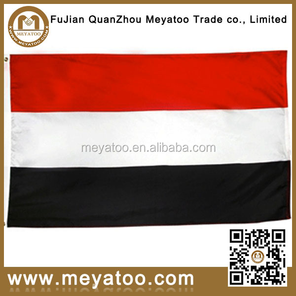Red White Black Polyester Yemen Flag For Outdoor Banner