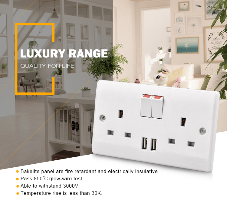 Wall mounted double USB electrical switch socket outlet