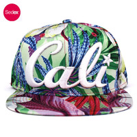 SEDEX 4-Pillar custom 6 panel California Republic Cali Cap flat bill snapback hat with floral printing