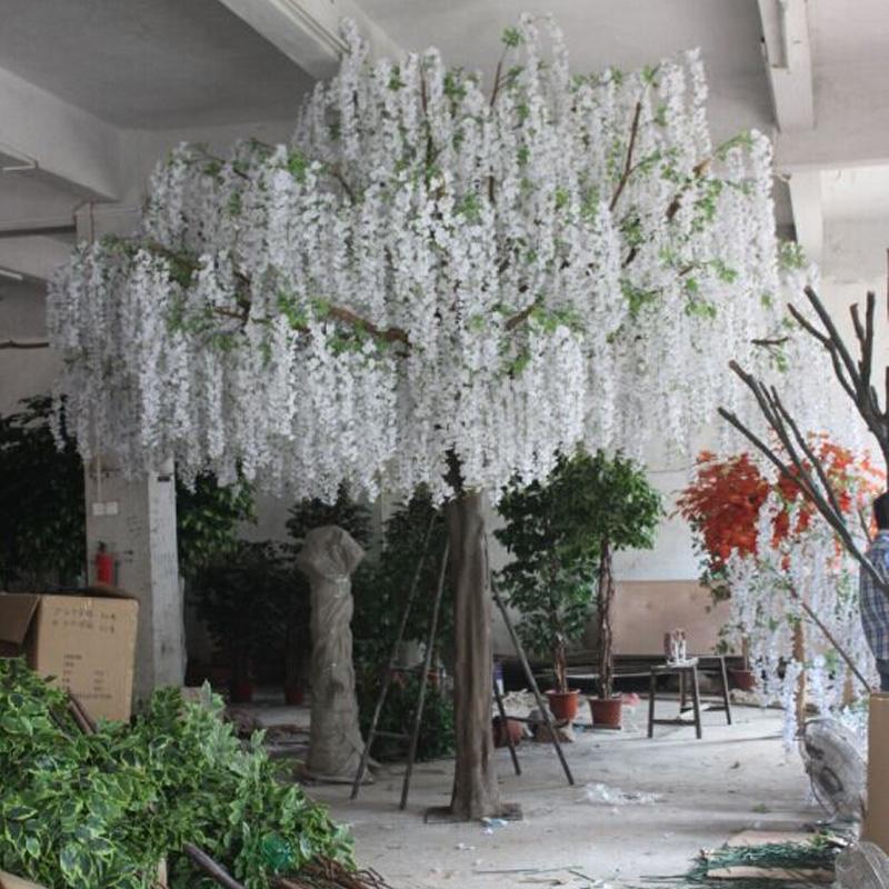 White Wisteria Flower Tree Wedding Stage Decoration Flower Tree