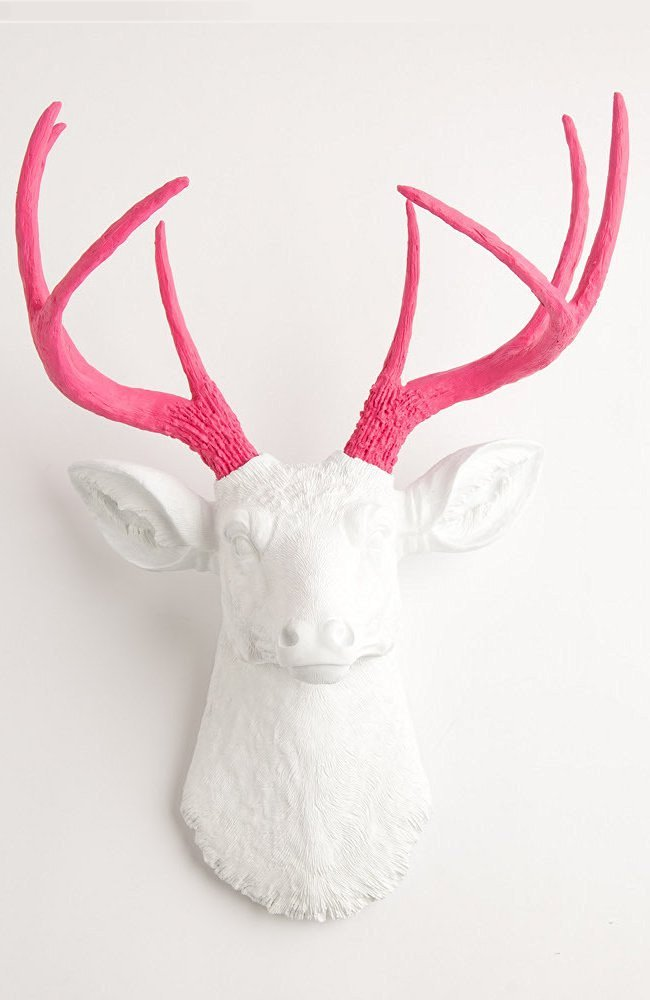 White Faux Deer Head Wall Mount With Pink Antlers The Boris By Taxidermy