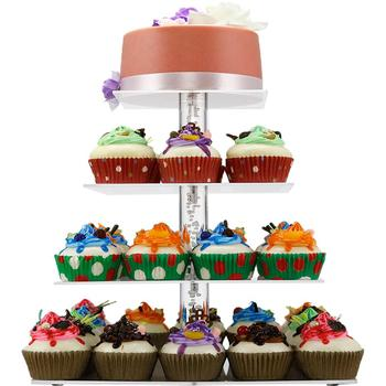 4 Tier acrylic square wedding cupcake display stand for amazom/walmart