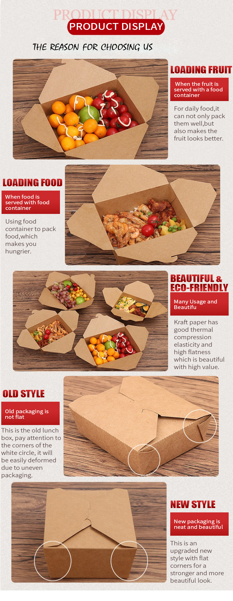 Fast Food Biodegradable Container Recycle Box Original Color Kraft Paper Container Food Take Away Kraft Package Boxes