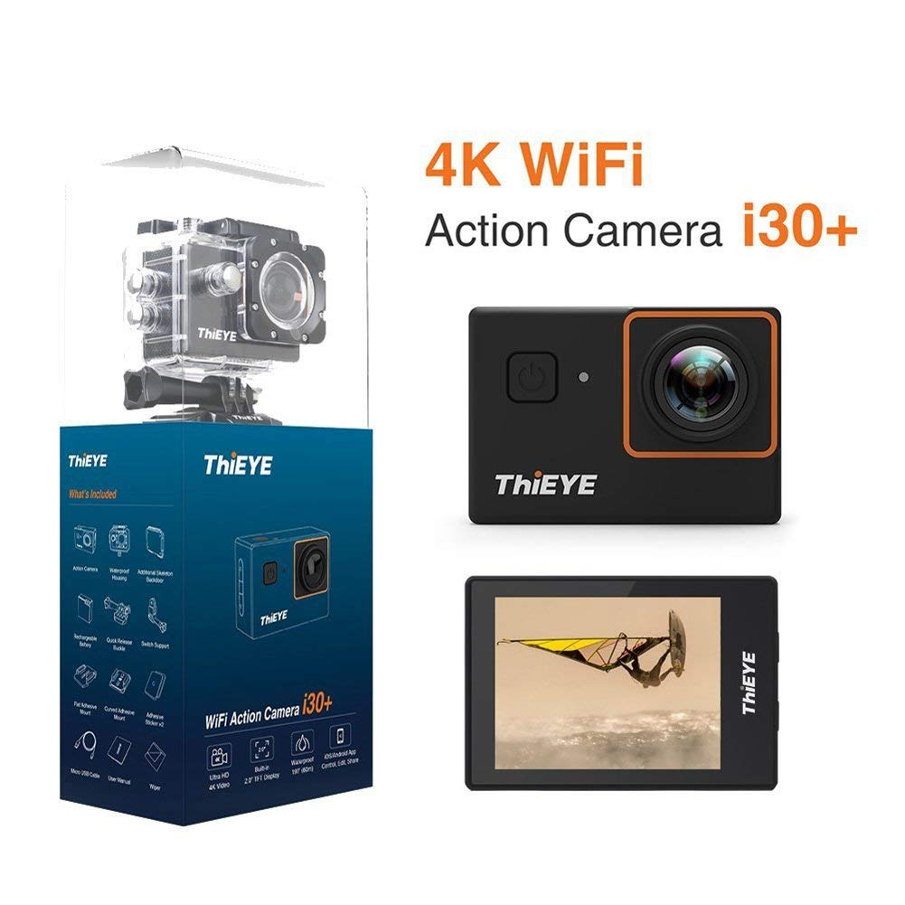 ETbotu Waterproof Sports Camcorder THIEYE i30+ 4K 12MP WiFi Action Camera 197ft 2.0Inch LCD 170° Wide Angle APP Control Camera