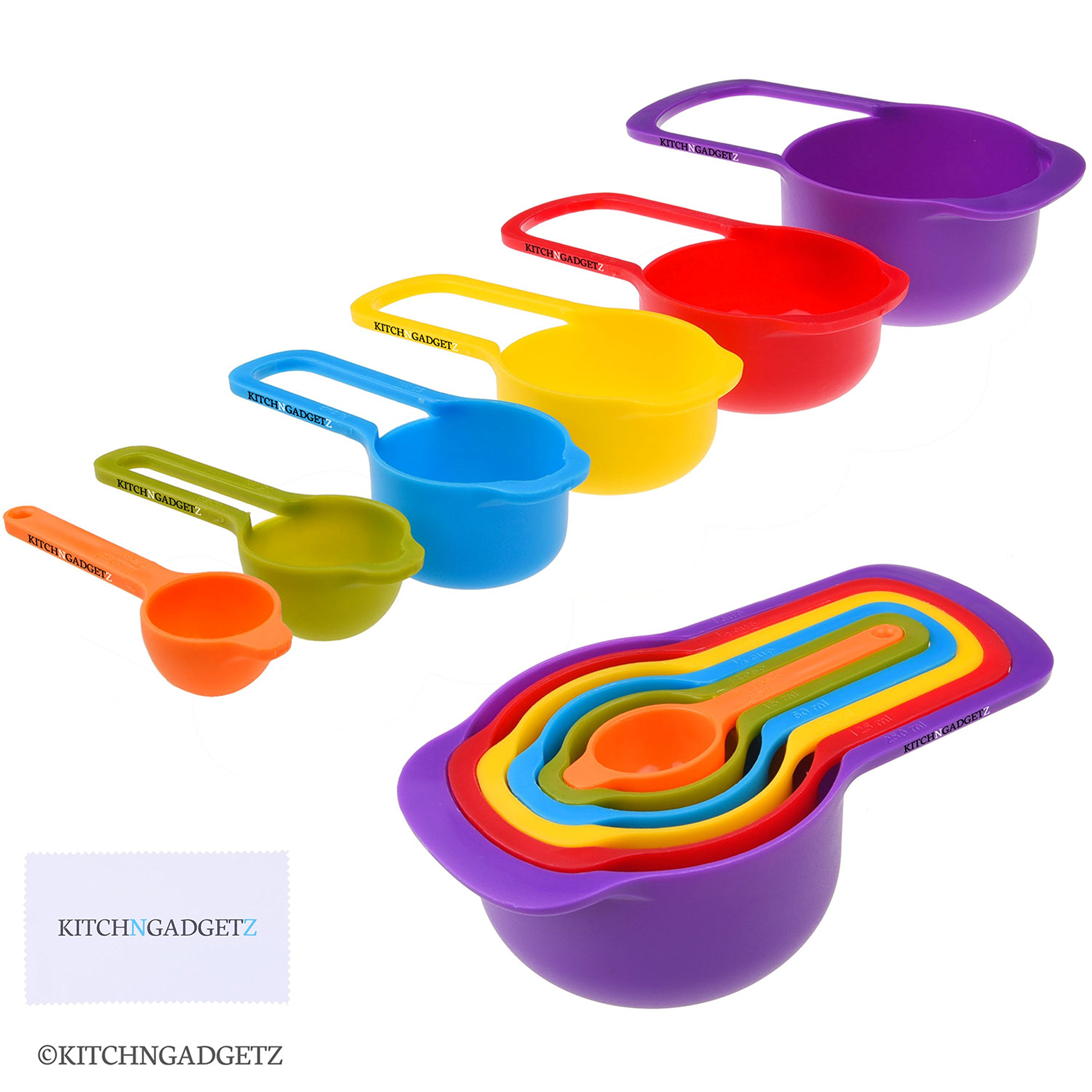 Set of 6 Measuring Cups and Spoons - Space Saving Design - Colorful - Includes: 1/2 Tbls, 1 Tbls, 1/4 cup, 1/3 cup, 1/2 cup, 1 cup - Durable Plastic - Easy to Clean - Dishwasher Safe