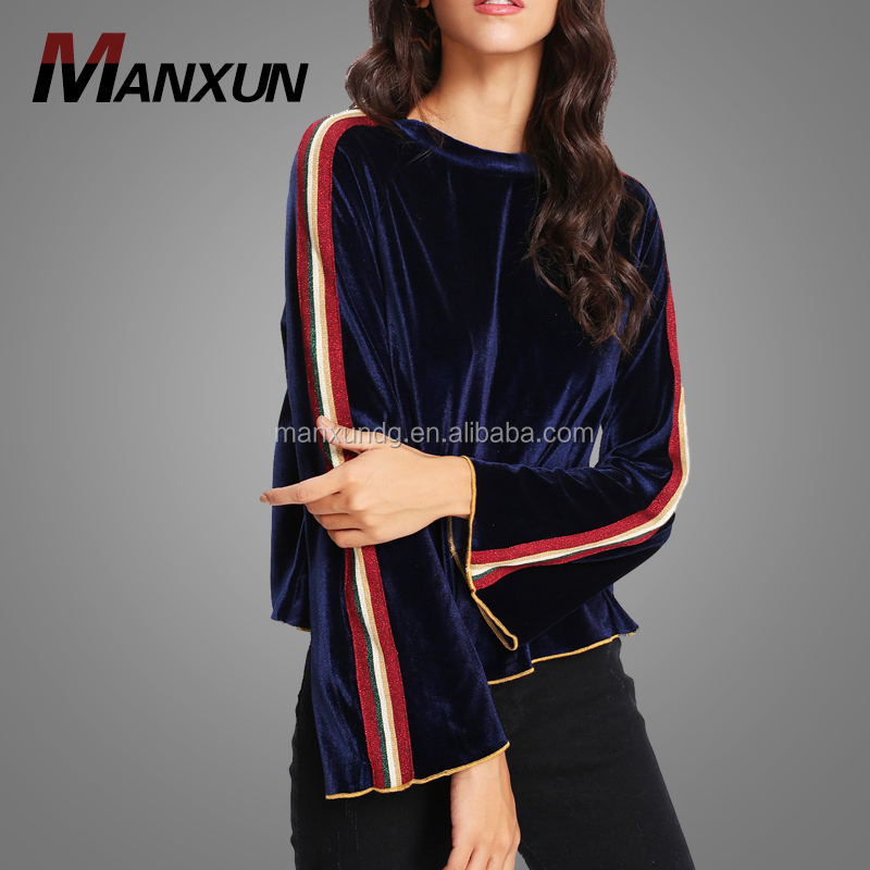 Wholesale Bell Sleeve Velvet Tee Shirt Ladies Blouse Designer Blouse Cutting And Stitching 2018 Buy Fashion Cutting Blouse Design,Princess Cutting
