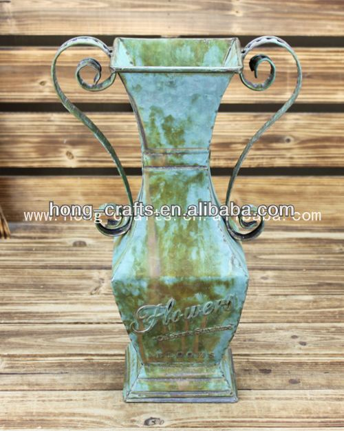 Large decorative painted metal flower vase