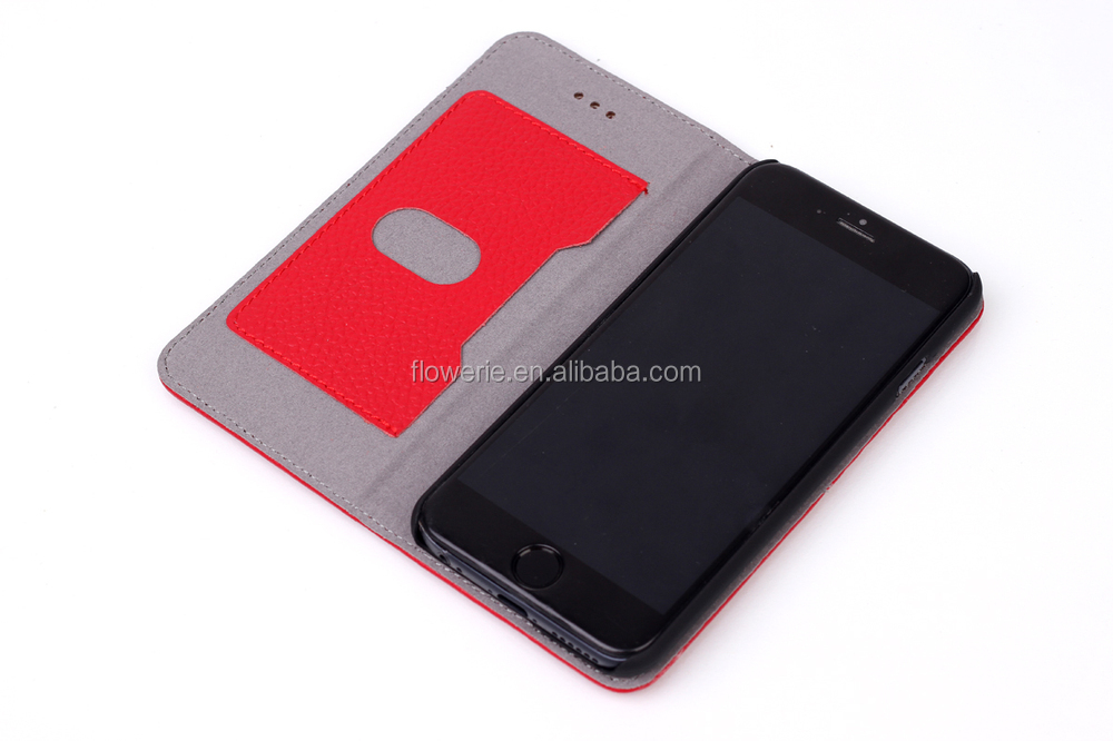 FL2506 New arrived flip cover Litchi genuine leather case for iphone 6 paypal acceptied