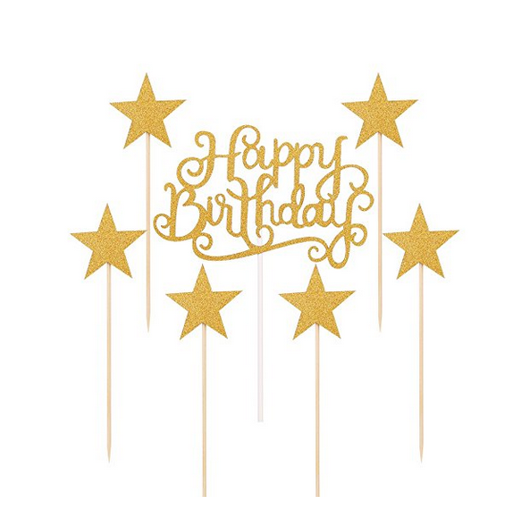 UMISS PAPER Gold Glitter Happy Birthday Cake Toppers And Five Pointed Star Smash