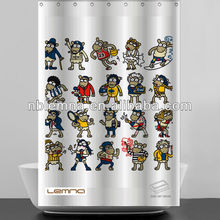 printed anime fancy shower curtain