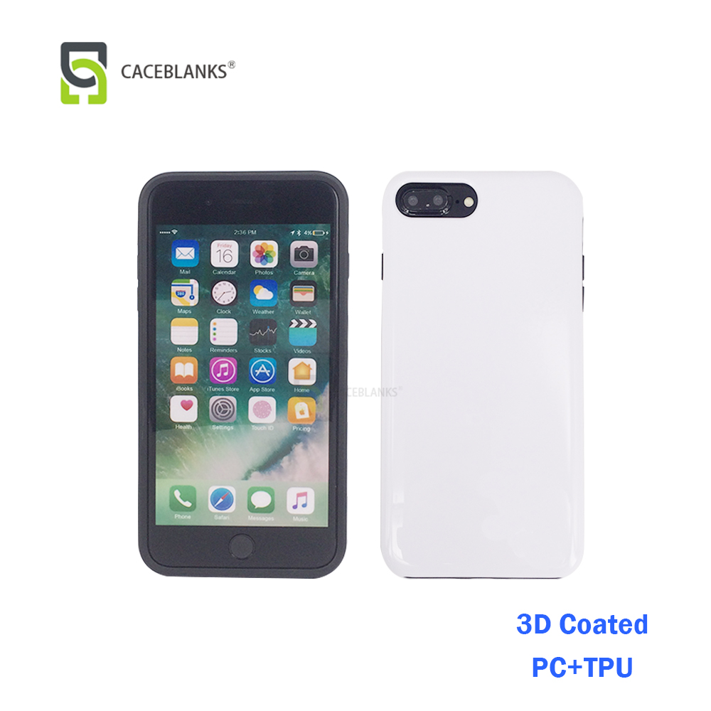 new developed sublimation phone case with coating material of PC+TPU type bumper phone case include the 3d sublimation coating