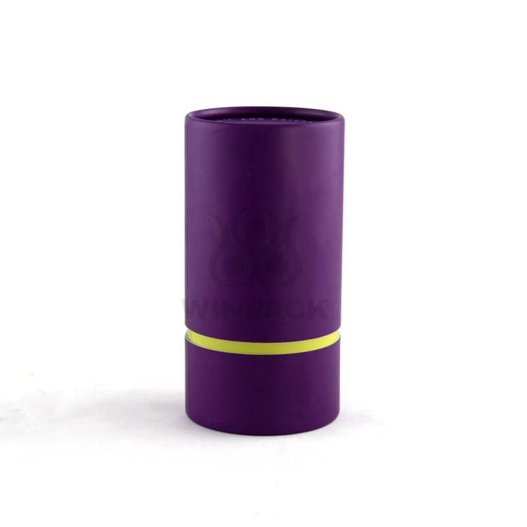 Custom Purple Cardboard Paper Tube / Canister Packaging for Cosmetics and Gift