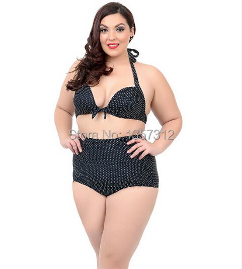 516520d04b64c Get Quotations · Vintage plus size high waisted bikini set swimsuits for  women brazilian bikini swim suit retro Polka
