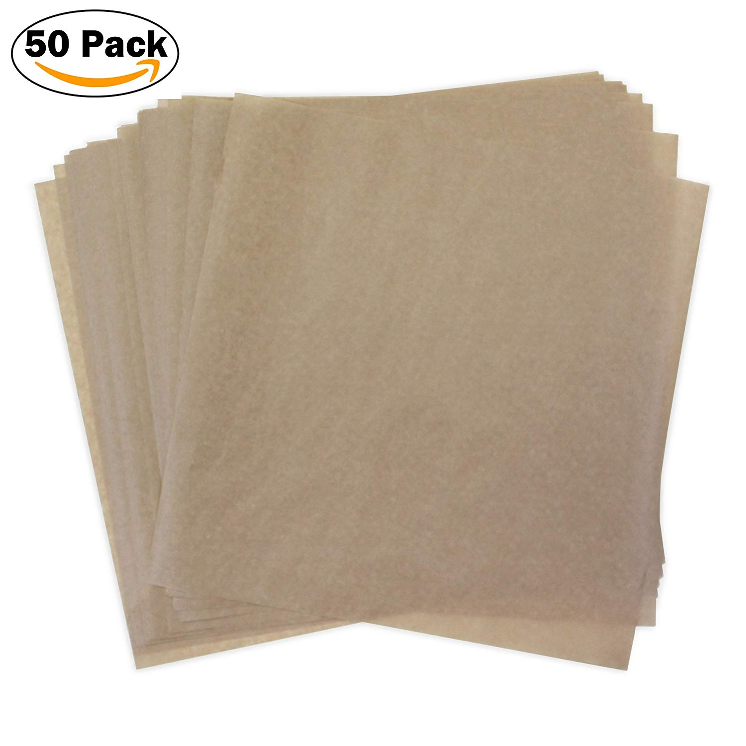 Kraft Dry Wax Paper Deli Wrap and Basket Liner (Natural Brown 12x12, pack of 50)