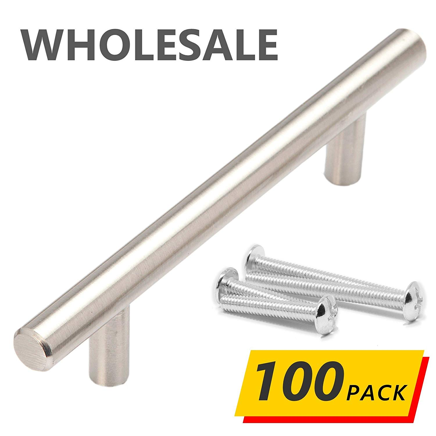 """100 Pack   6"""" Stainless Steel T Bar Cabinet Pull Handles: 3.75"""" Hole Spacing (3-3/4"""" 96mm) Brushed Satin Nickel Finish   Bulk Case Wholesale Kitchen Cabinet Hardware"""