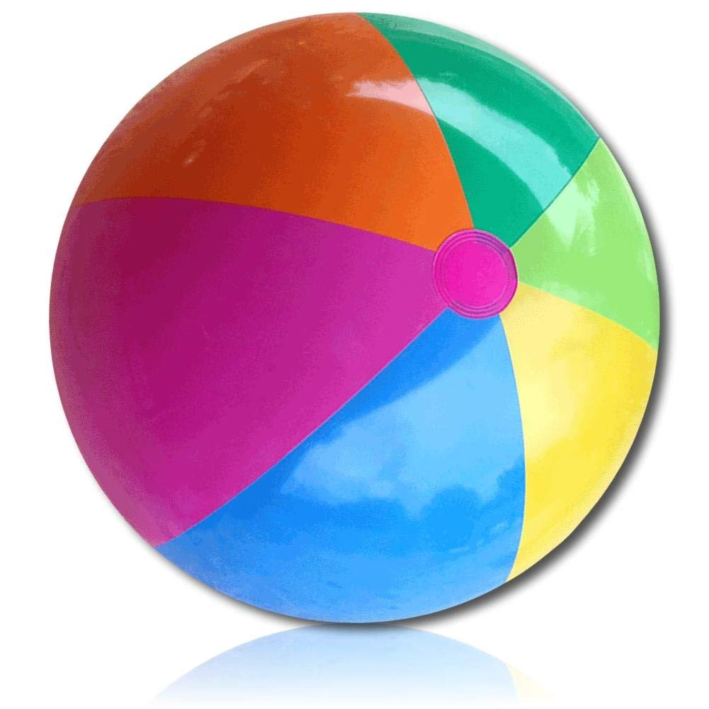 """ULTRA Durable & Custom {24"""" Inch} 1 Single of Large-Size Inflatable Beach Ball for Summer Fun, Made of Lightweight FLEX-Resin Plastic w/ Retro Thick Alternating Solid Wedge Stripes Style {Multicolor}"""