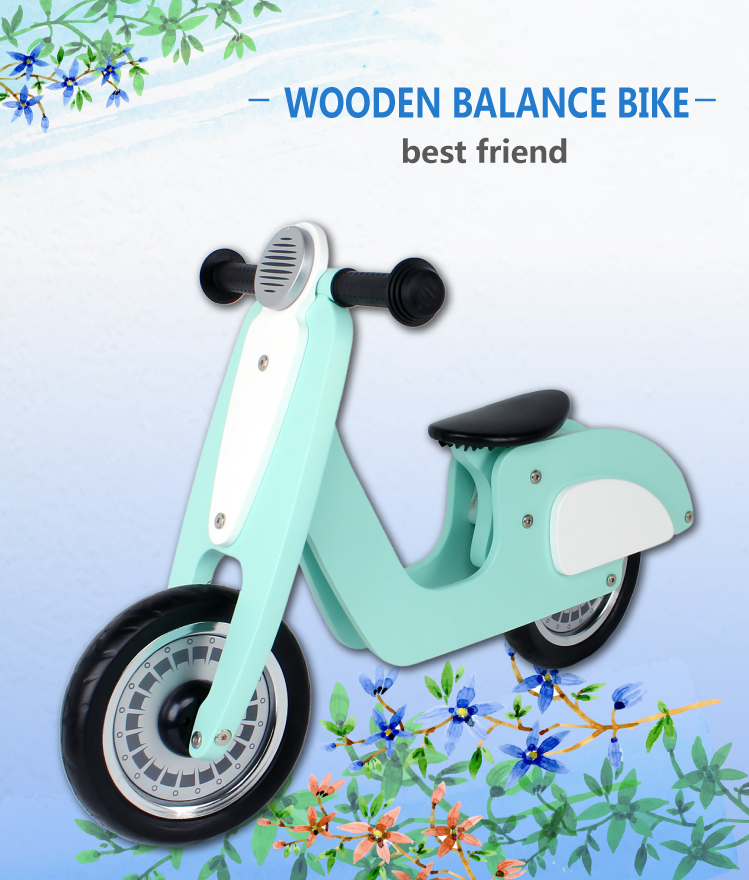 "10"" No Pedal Wooden Balance Scooter for Children Balance Training as Kids Bike"