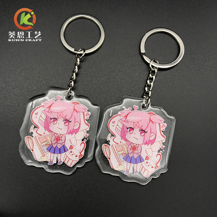 Gold Powder Epoxy Coated Acrylic Charm Anime Custom Printed Plastic Transparent Acrylic Charms Clear Keychains