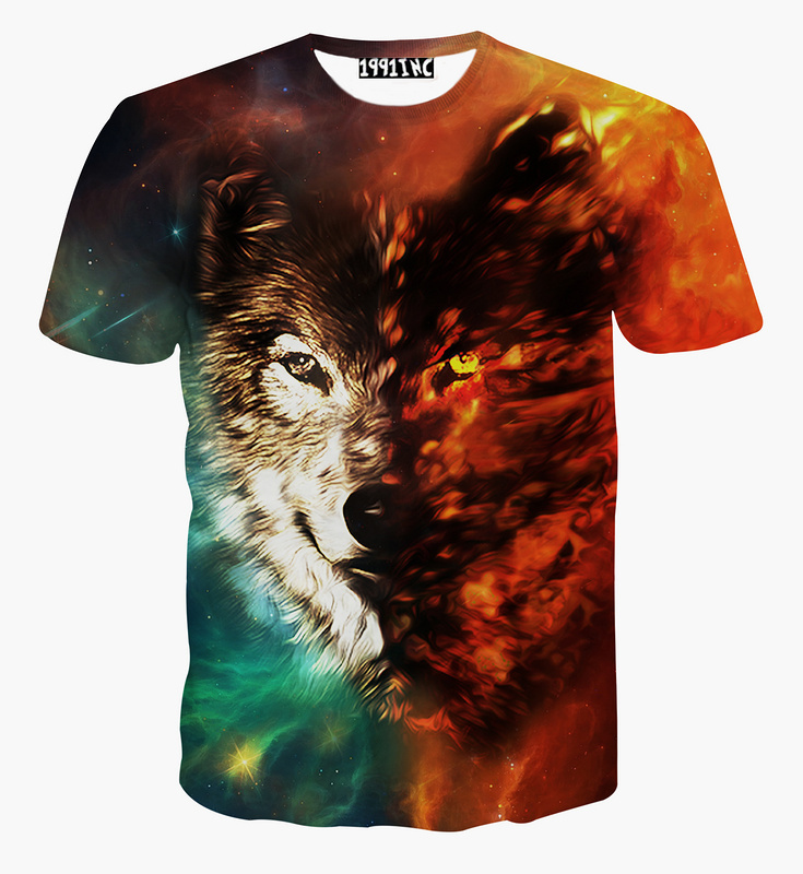 0be26066d94 Get Quotations · Alisister new fashion galaxy Wolf t shirt for men women  animal 3d T-Shirt