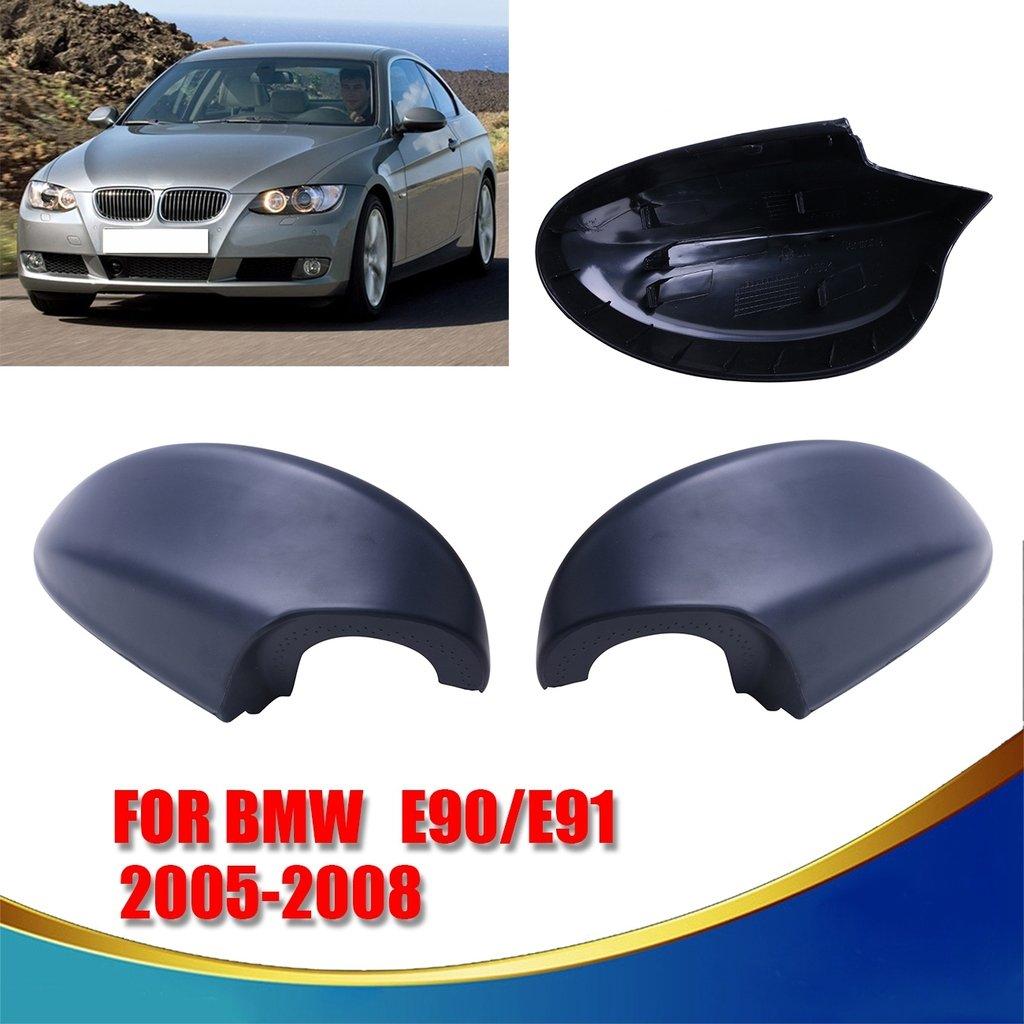 1 Pair Black Mirror Cover For BMW 3-Series E90 E91 325i 328i 330i Sedan 2005-2008