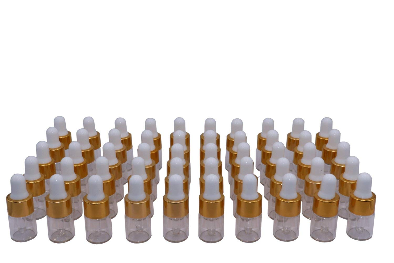 Wresty 50 Pcs Clear Glass Dropper Vails 2ml Mini Essential Oils Sample Dropper Bottles For Traveling Essential Oils Perfume Cosmetic Liquid,With 2 pcs dropper