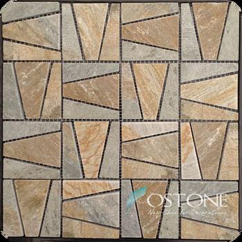 Random Trapezoid Pattern Yellow Slate Natural Stone Mosaic Mural Best Random Tile Pattern