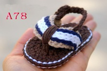 Free Shipping Crochet Baby shoes Baby boy Brown Flip Flops Crochet Baby Shoes Sizes 0 12