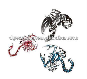 Escorpion Tatuaje custom 3 colores tribal escorpión etiqueta engomada del tatuaje