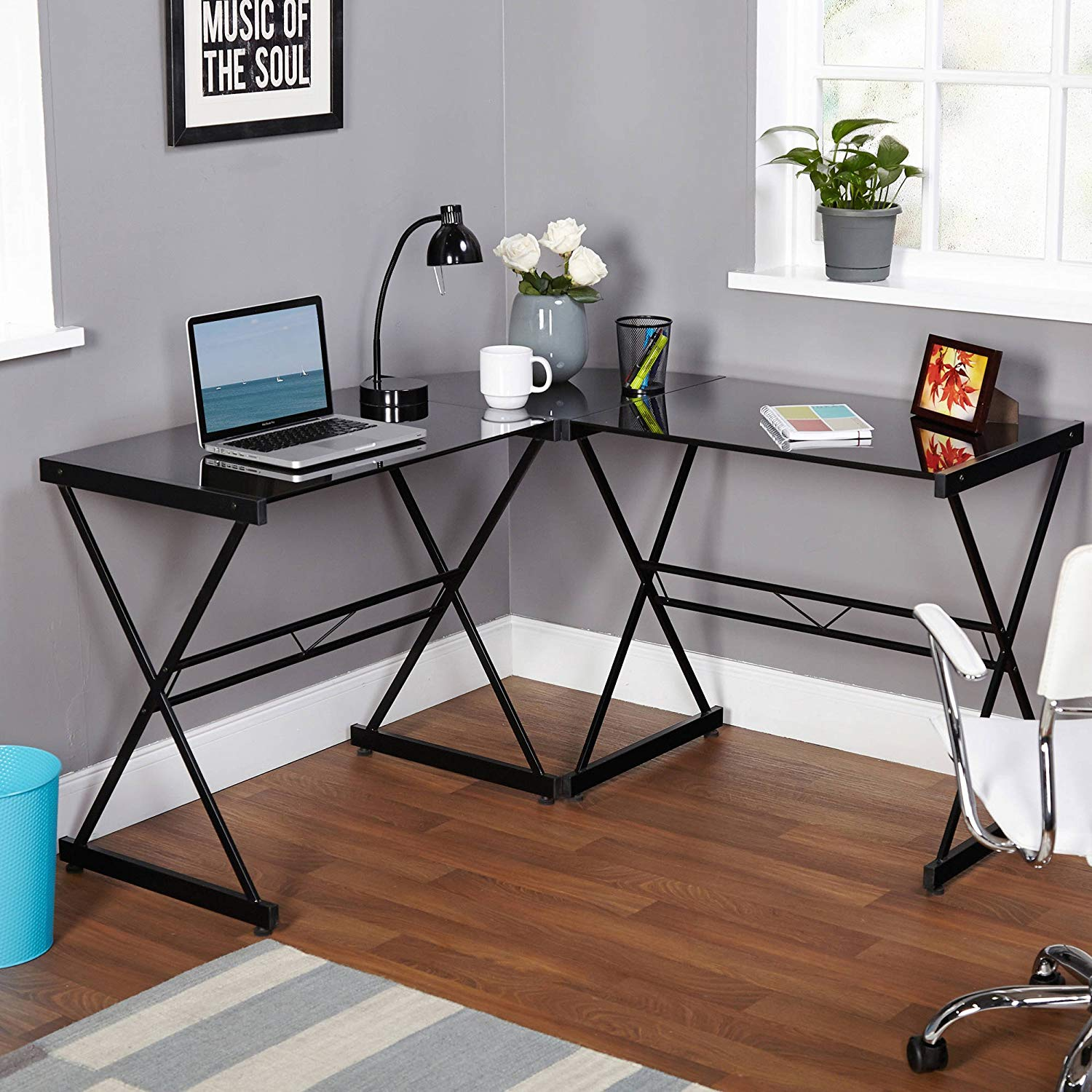 Metal and Glass L-shaped Computer Desk, Multiple Colors, Contemporary Computer Desk with Durable Metal Frame, Provides Space for Computer, Electronics and Office Supplies, Made with Tempered Glass