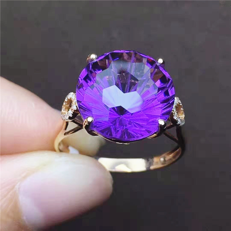 ring ceremony gift 18k gold South Africa real diamond natural Brazil amethyst ring for women 18 k gold ring