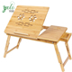Premium Adjustable Study Portable Bamboo Laptop Desk With Drawer,Wooden Serving Bed Tray And Cup Tray Tilting top