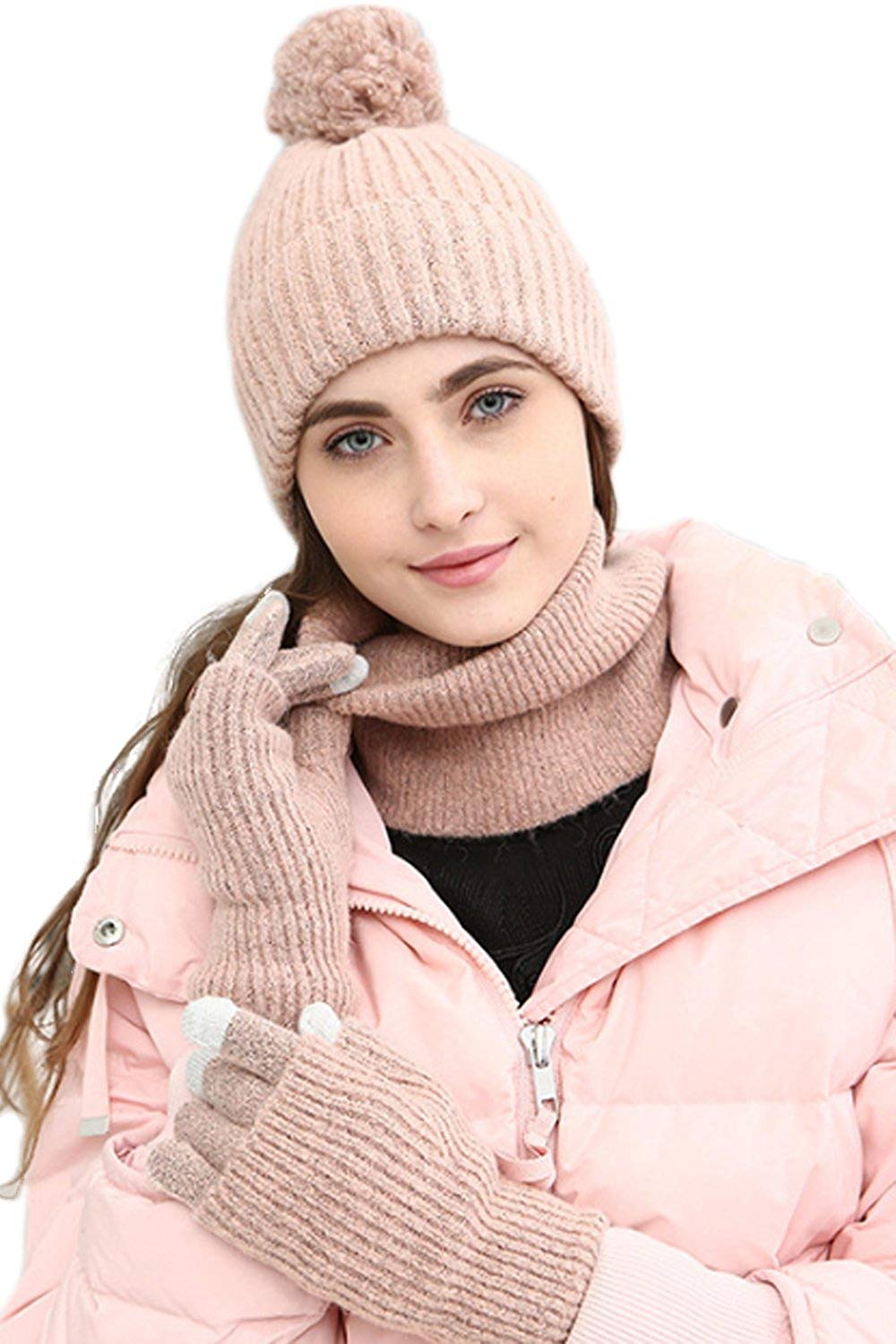 183aa8aa446 Get Quotations · JOYEBUY Women Lady 3 PCS Knitted Set Winter Warm Knit Hat  + Scarf + Touch Screen