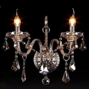 Decorative Luxury Amber 2 Lights Vintage Wall Mounted Chandelier Lamp for Sale