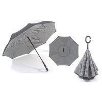 Rainproof double layer c handle inside out reverse close umbrella