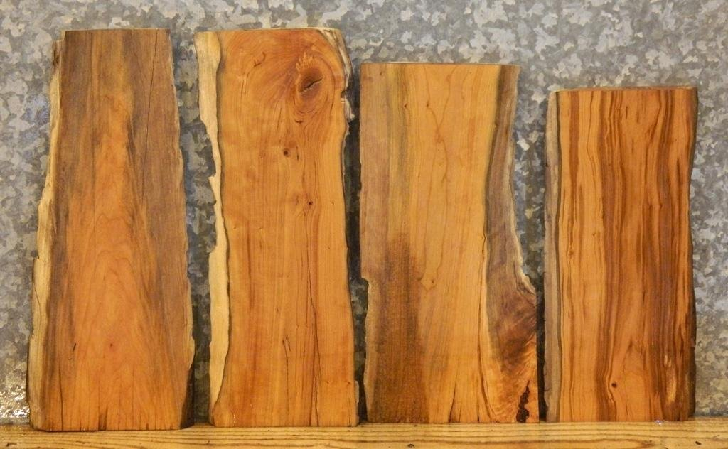 4- Natural Edge Cherry Craft Pack/Taxidermy Base Wood Slabs T: 1'', W: 7 3/4'', L: 18'' - 13622,13629,13637,13640