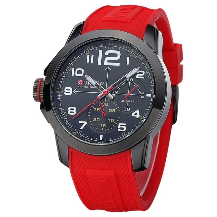 Top Brand Luxury Relojes Hombre Sport Big Dial Classic Silicone Strap Japan Movt Quartz Military Curren 8182 Mens Watch 2018 <strong>Hot</strong>
