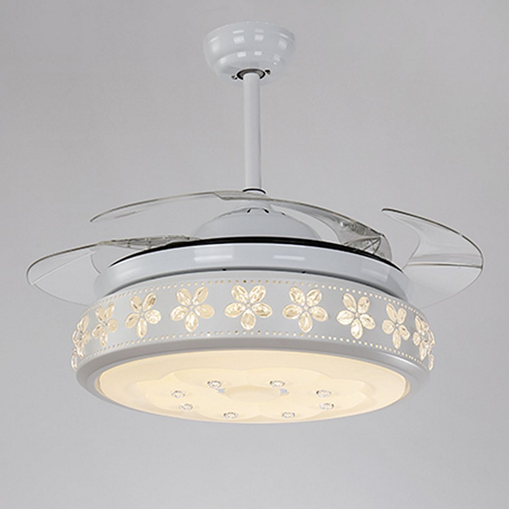 Silver RS Lighting The Ceiling Fans Art Decoration K9 Crystal-42 inch Retractable Blades Ceiling Fan With Remote and Lights-for Indoor Outdoor Living,Dining Room Corridor