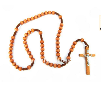 Professional supplier cheap handmade religious wooden rosary jewelry necklace
