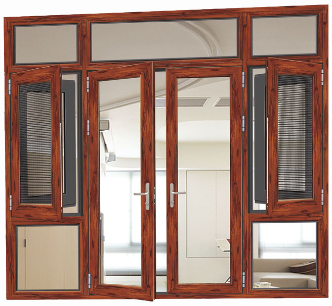 Standard Size Double Glazing Wooden Aluminium Doors And Windows