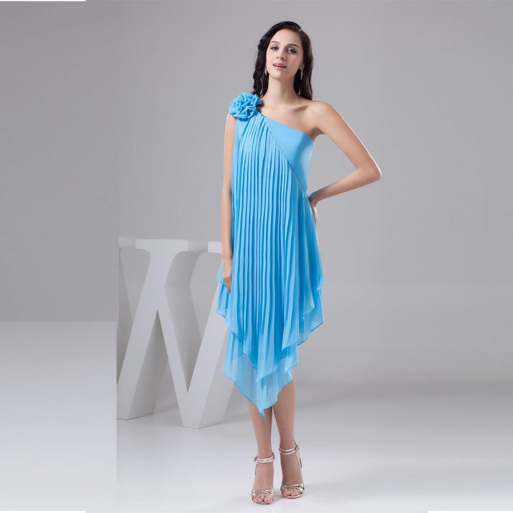 Cheap 2016 Baby Blue Bridesmaid Dresses One SHoulder Tea ...