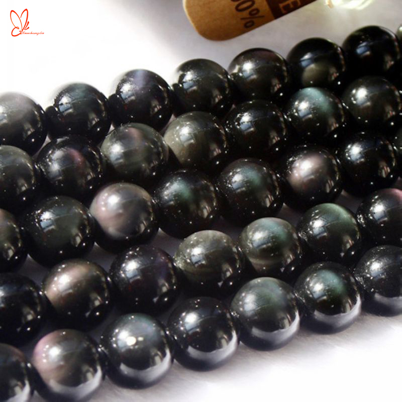 Wholesale natural rainbow obsidian round beads jewelry rainbow eye