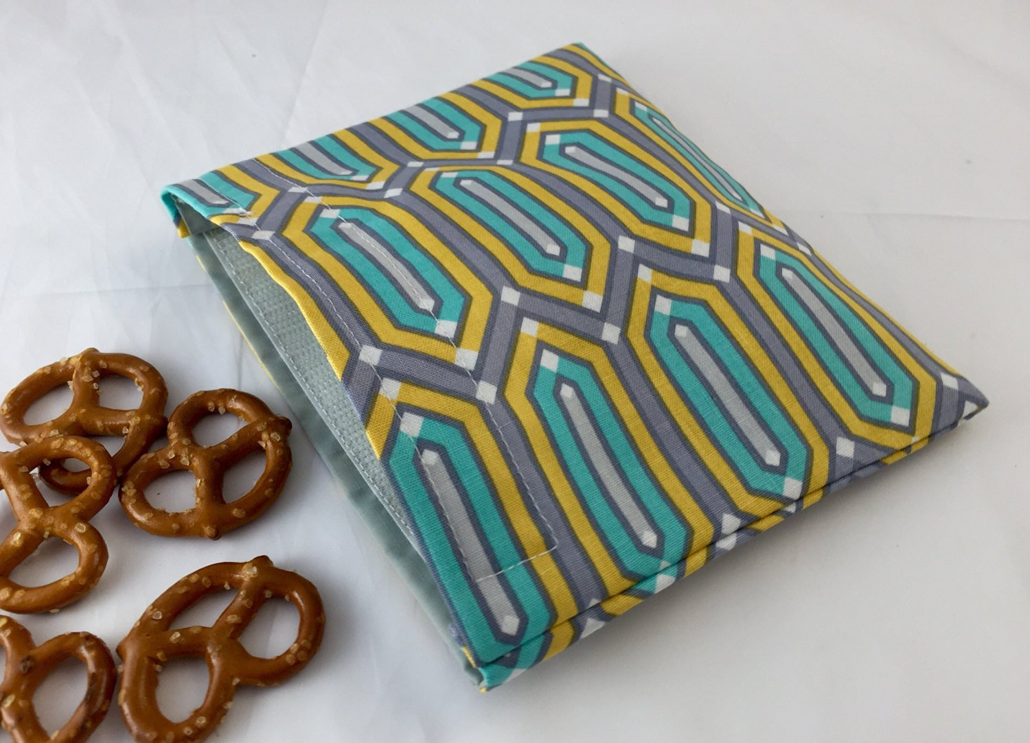 Reusable Snack Bag Eco-Friendly - Teal Geometric