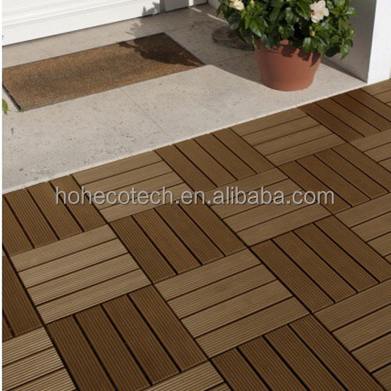 Embossed wood <strong>grain</strong> on surface interlocking wood plastic composite decking tiles for promotion