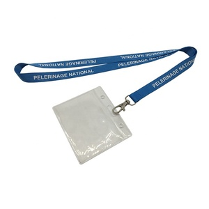 High Quality Custom Fashion Fancy Blue Branded Printed Student ID Name Card Badge Holder Lanyard Neck Strap With Logo Custom