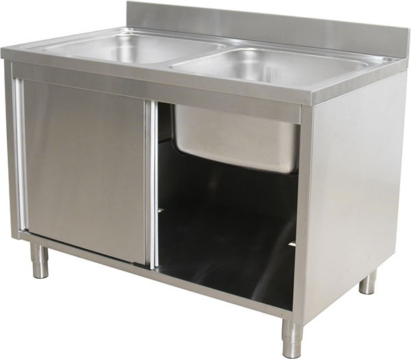 Unique Stainless Steel Double Sink Bench Cabinet Australia Commercial Island With Sliding Door