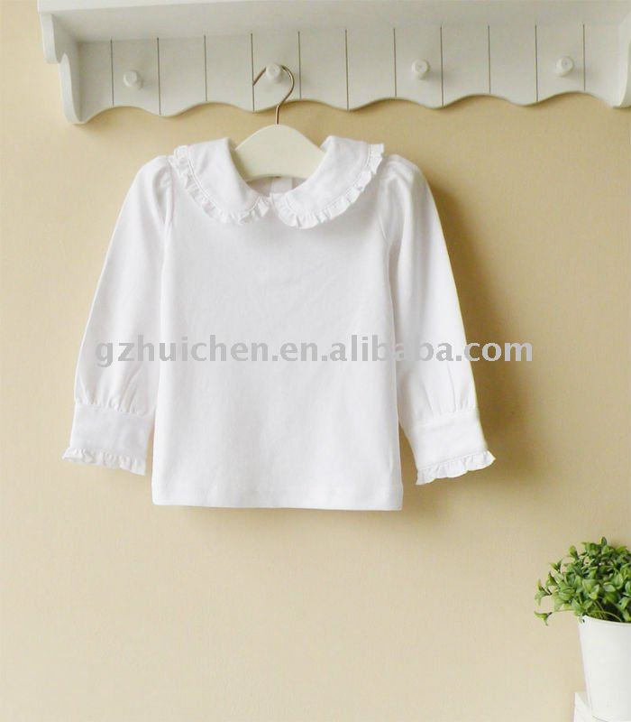 2011 autumn baby wear 100% cotton plain white long sleeve t-shirt