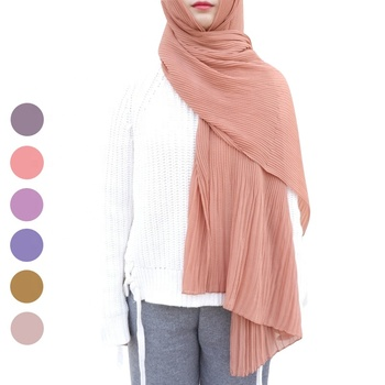 New 23 colors women solid plain pleated ruffle shawls soft long muslim crinkle chiffon hijab scarf
