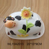 Cute cow shaped ceramic bread plate,ceramic butter dish with lids